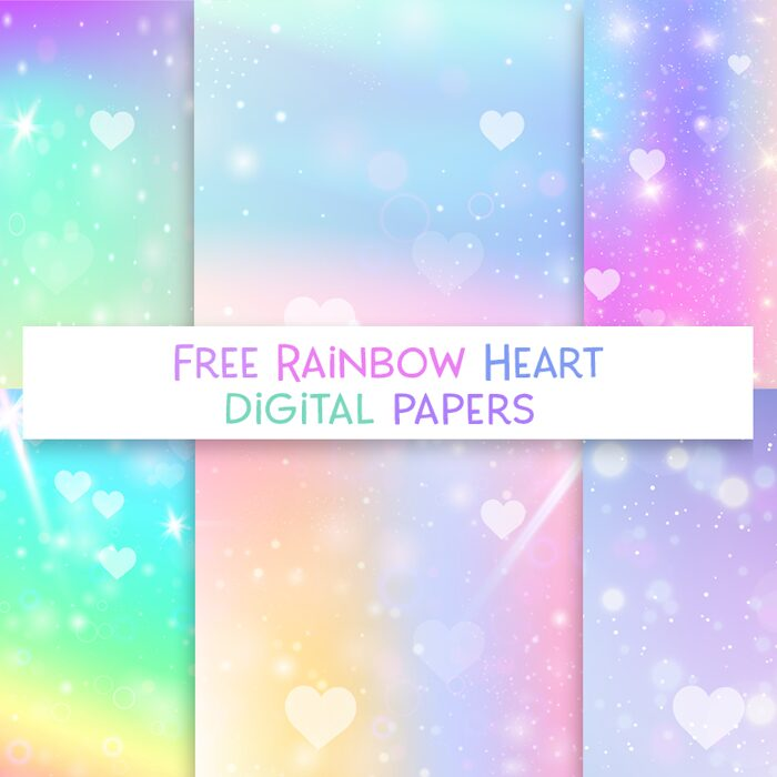 free bokeh rainbow galaxy heart digital paper