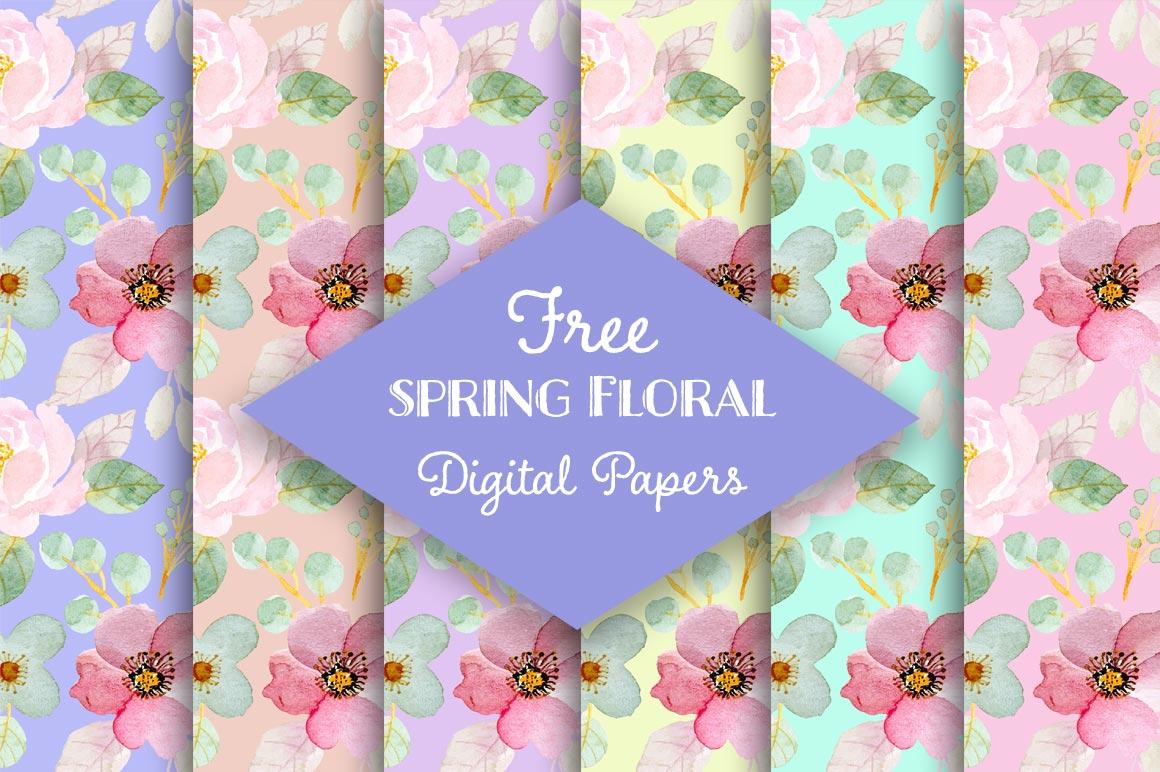 Free Spring Floral Digital Scrapbooking Papers