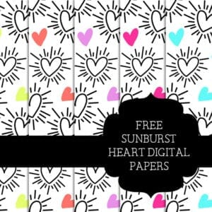 Free Sunburst Heart Scrapbooking
