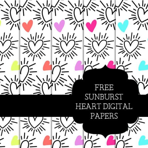 Free Sunburst Heart Scrapbooking Papers