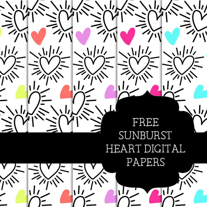 Free Sunburst Heart Scrapbooking Papers
