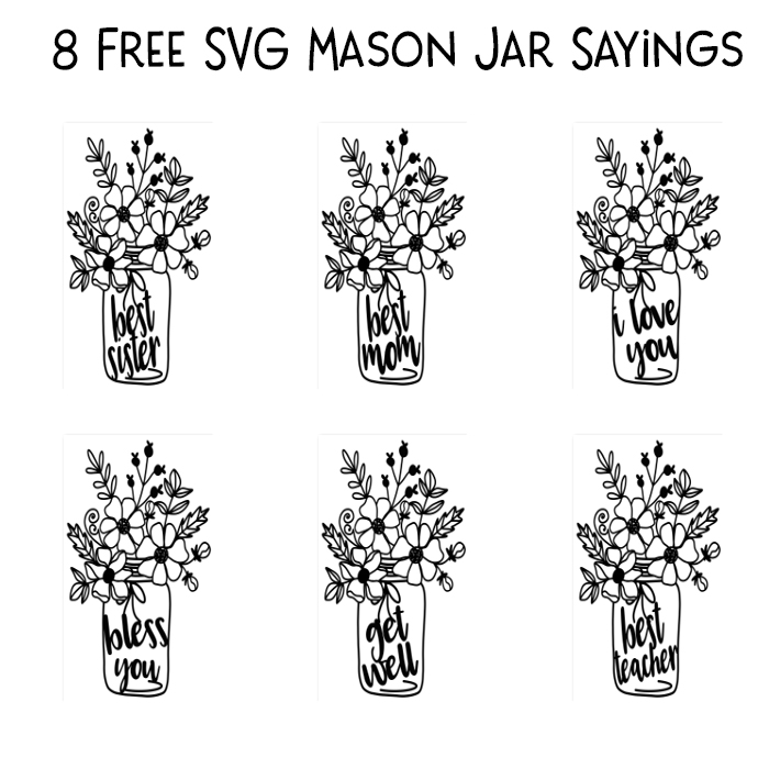 Free Mason Jar Flower SVG