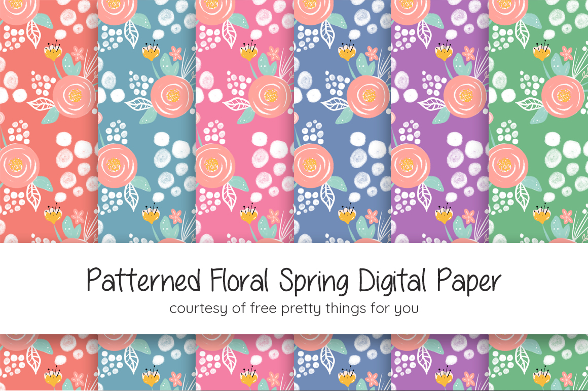 Download this free Patterned Floral Spring Digital Paper