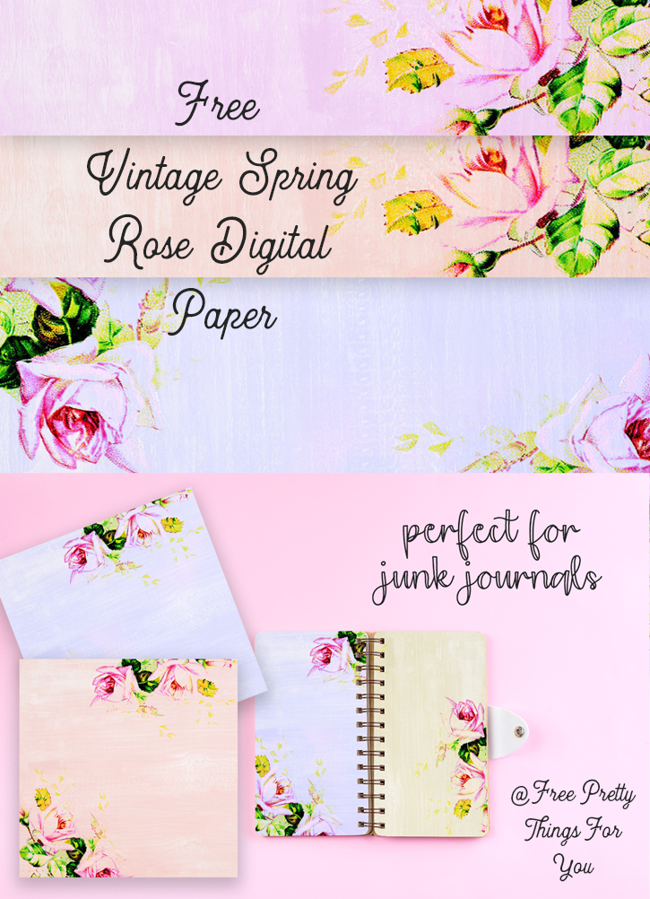 Download this Free Vintage Spring Rose Digital Paper Collection