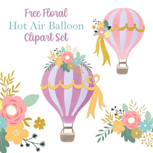 Free Floral Hot Air Balloon Graphics