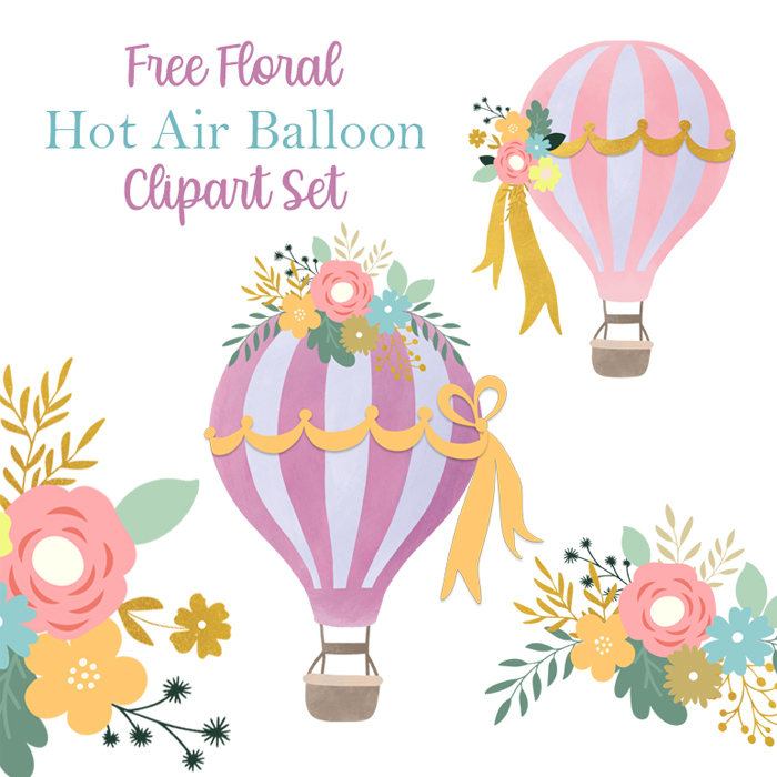 Free Floral Hot Air Balloon Graphics