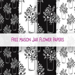 Free Mason Jar Flower Digital Paper