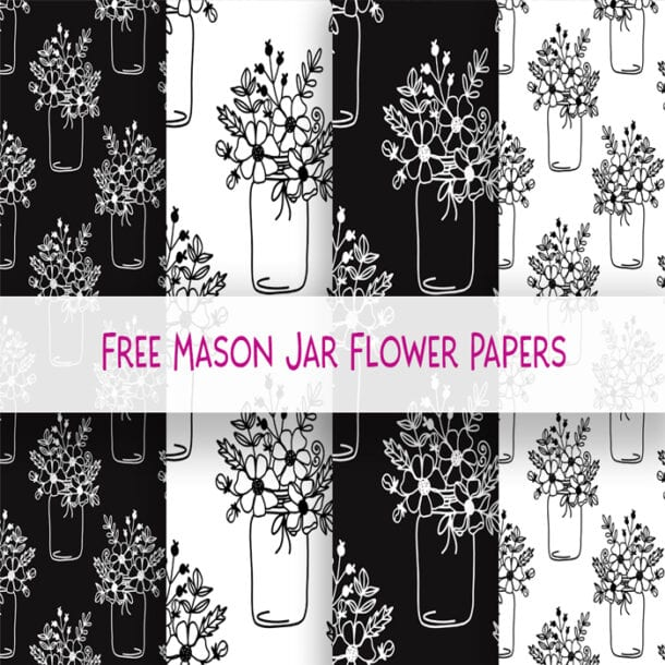 free mason jar flower digital Scrapbooking paper