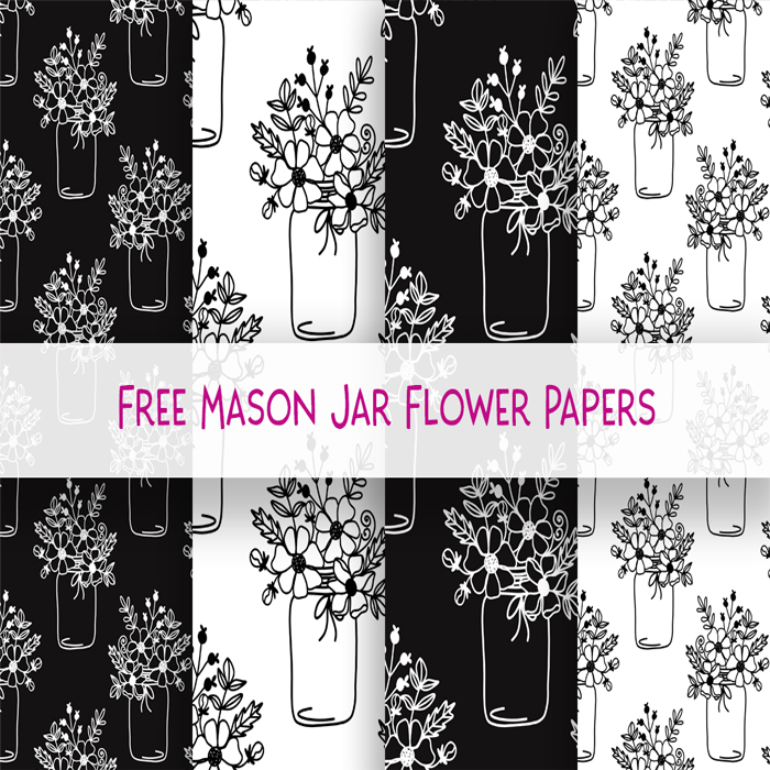 free mason jar flower digital Scrapbooking paper