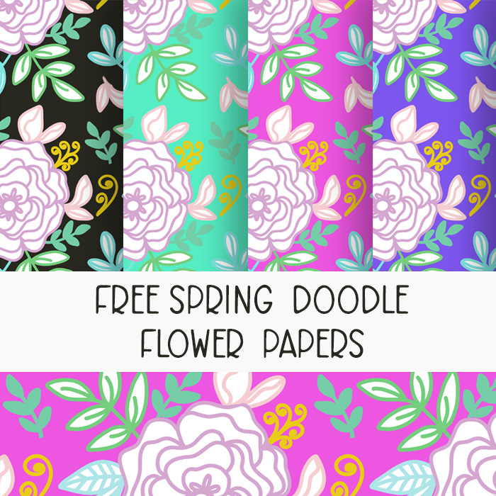 doodle flower spring papers
