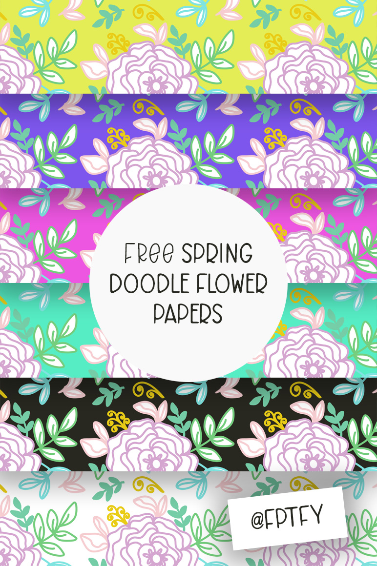 free doodle flower spring papers for instant download!