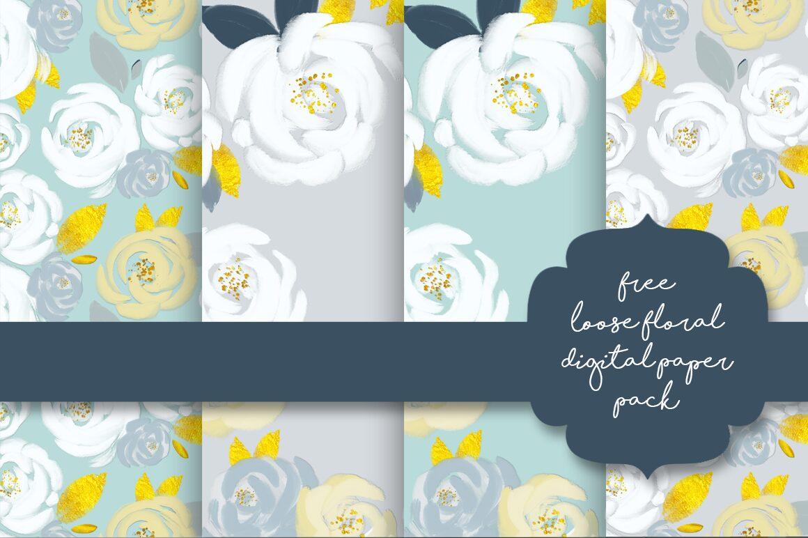 Free Loose Floral Digital Papers
