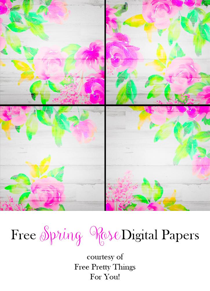 Free Spring Rose Digital Papers