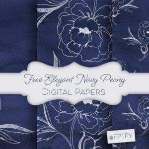 Free Elegant Navy Peony Digital Papers