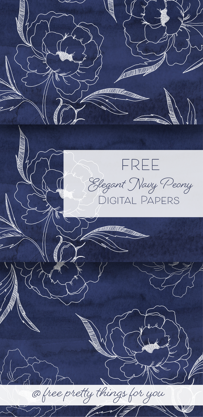 Download these Free Elegant Navy Peony Digital Papers for personal and commercial use