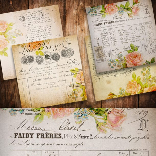 Free Vintage Rose French Papers for download