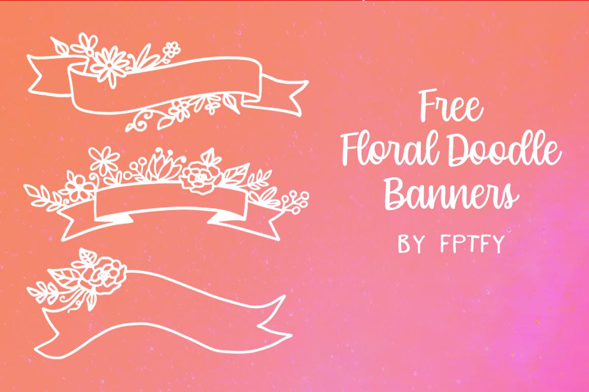 Free Floral Banner Doodles