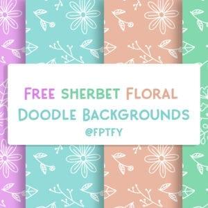 Free Sherbet Floral Doodle Digipaper
