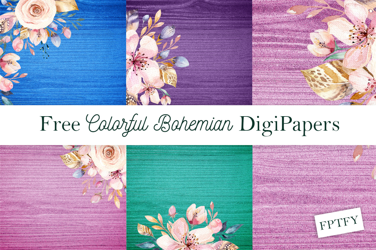 4 Free Colorful Bohemian DigiPapers