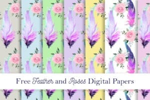 Free Feather and Roses DigiPapers