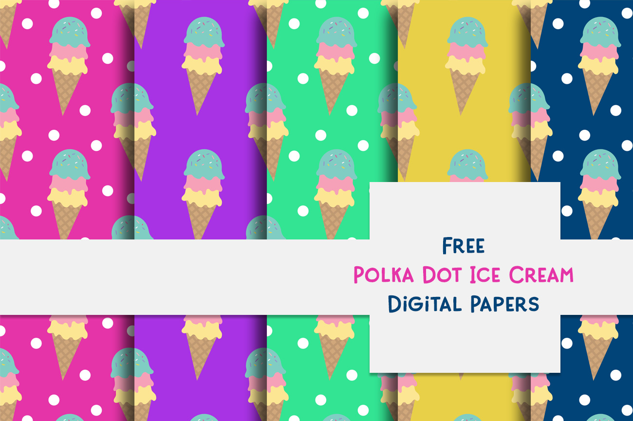 Free Polka Dot Ice Cream DigiPaper