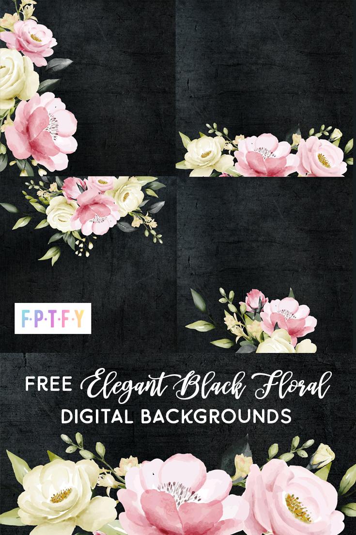 Elegant Black floral Digital Background