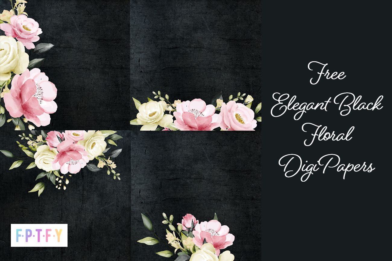 Elegant Black floral Digital Background