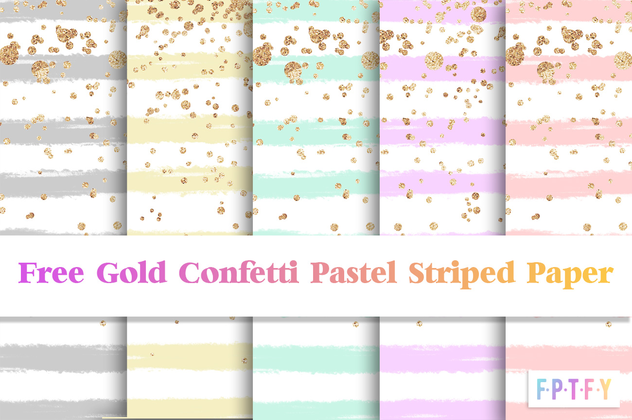 Free Pastel Stripe Gold Confetti DigiPaper Download