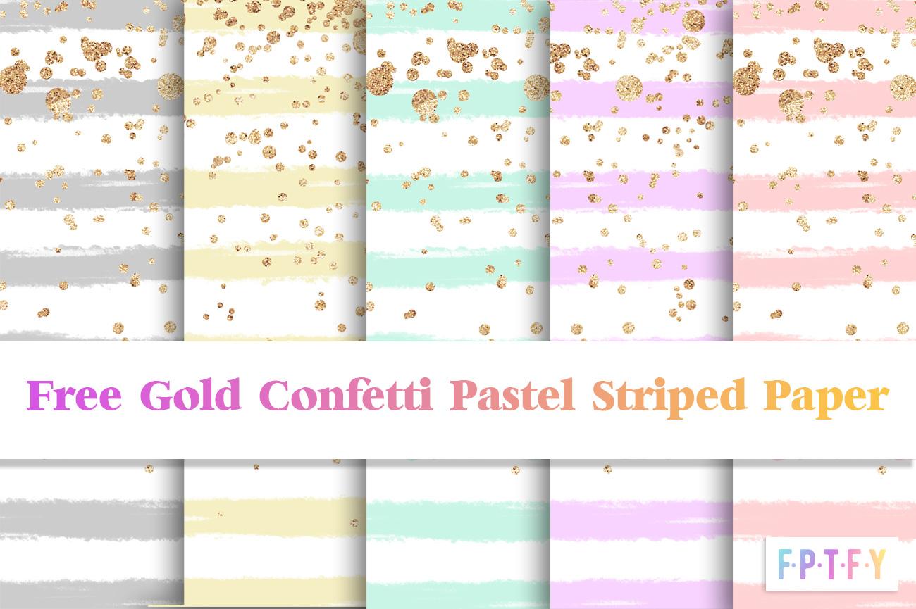 Free Pastel Stripe Gold Confetti DigiPaper Download