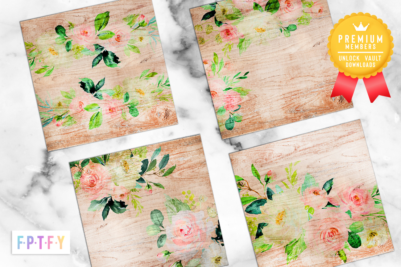 Romantic Cottage Wood Floral scrapbooking papers