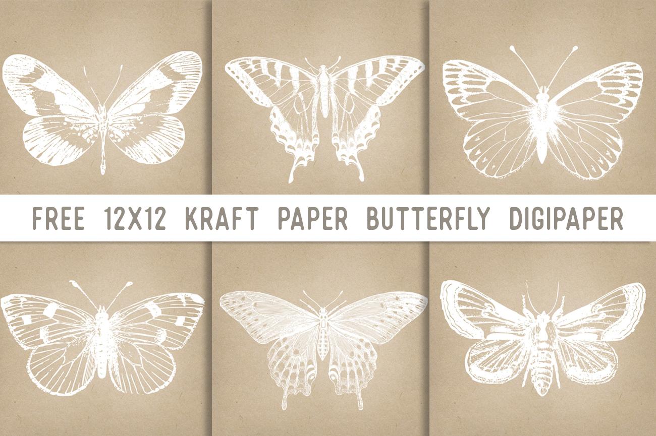 Kraft Paper Butterfly DigiPapers
