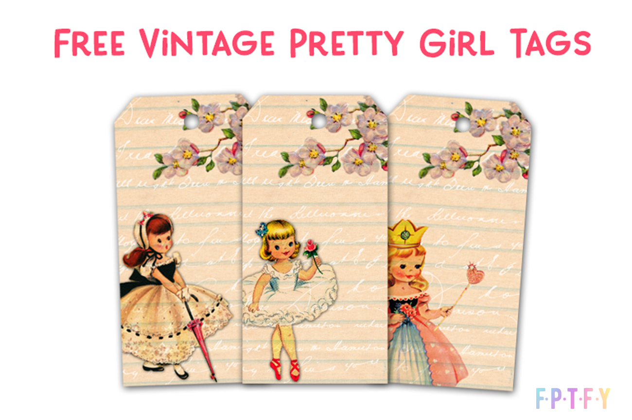 3 Free Vintage Pretty Girl Printable Tags