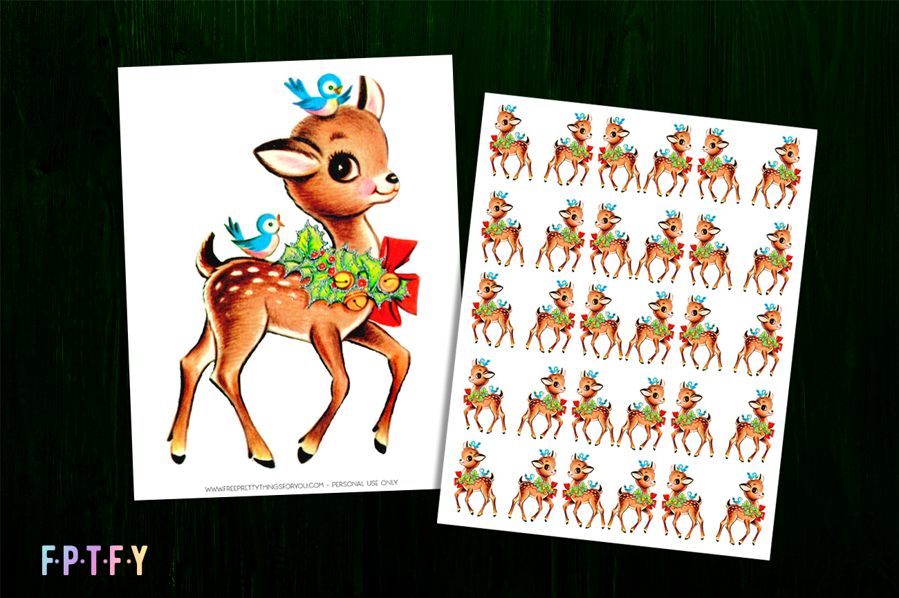 Free Vintage Deer Christmas Fabric Transfer