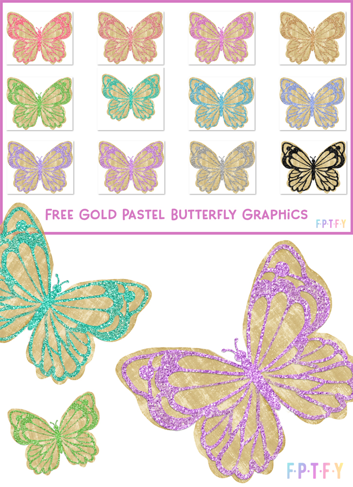 Gold Pastel Glitter Butterfly Graphics