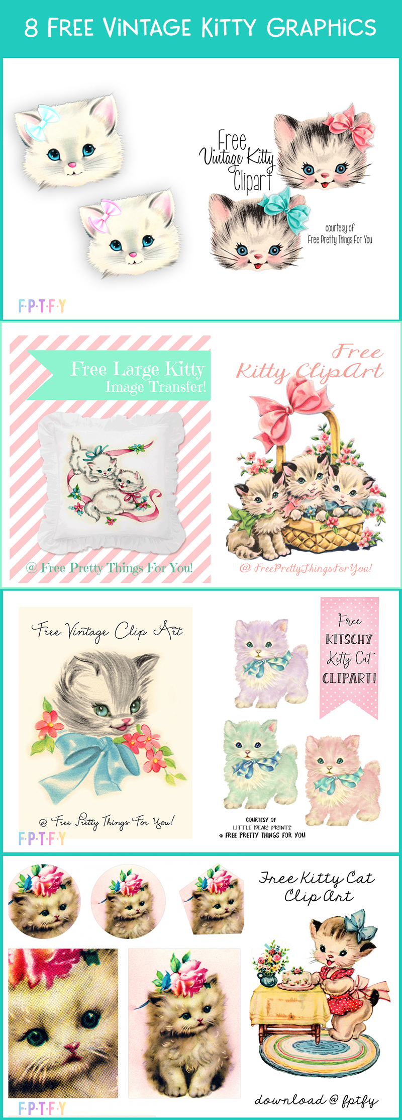 8 free vintage kitty graphics
