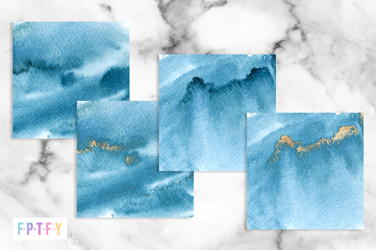 4 Free Blue Watercolor Textured Gold Digital Backgrounds