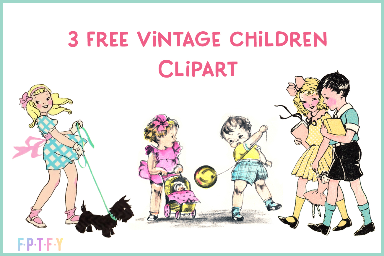 3 Free Vintage Children Clipart