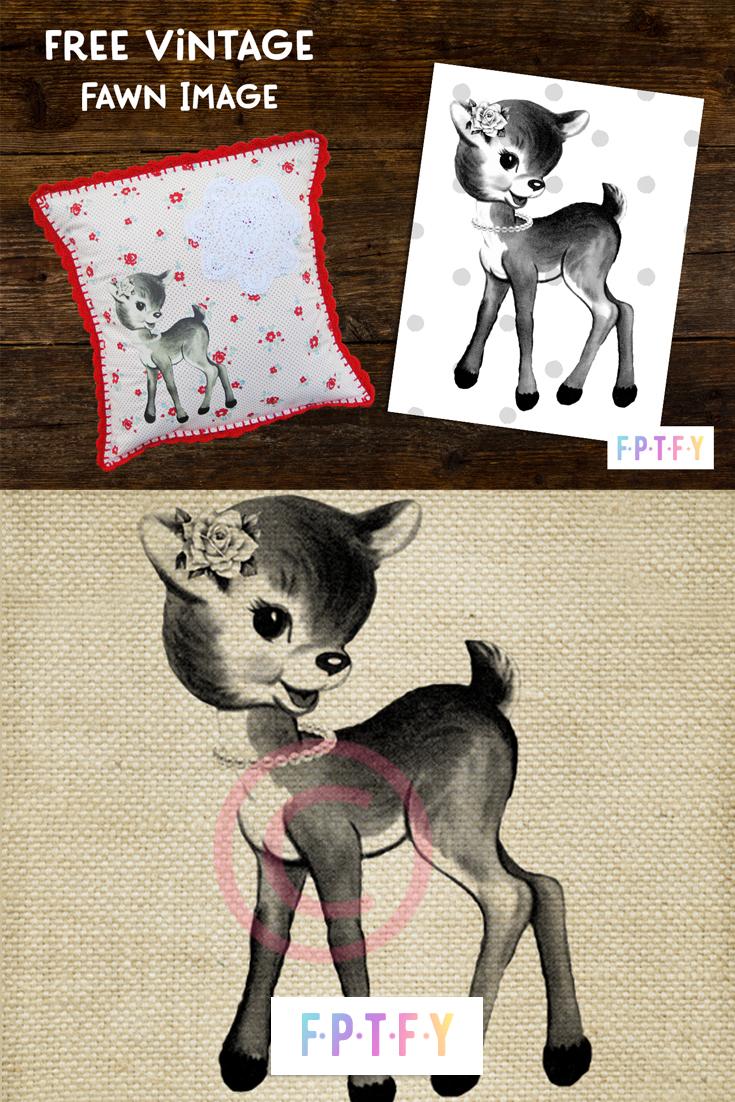 free vintage deer fawn image