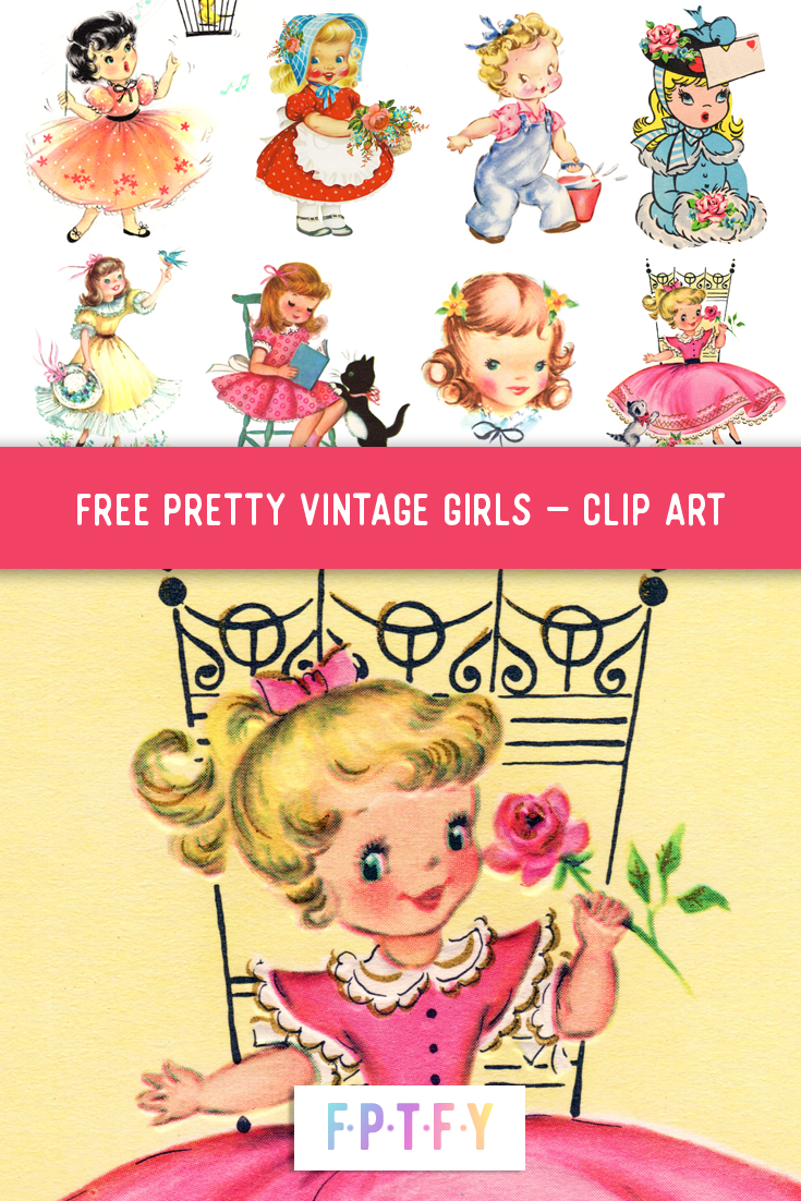 Free Vintage Little Girl Clip Art