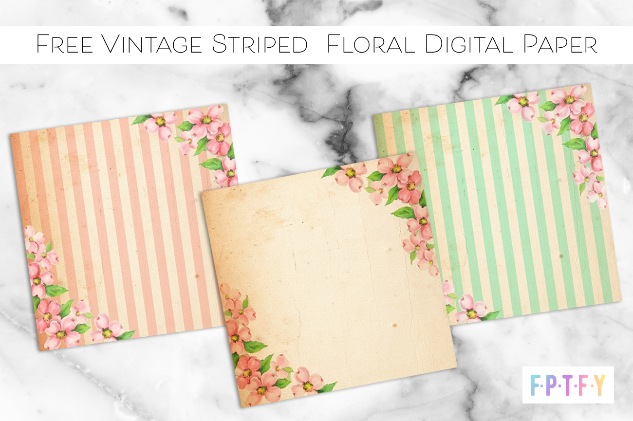 Free Vintage Striped Floral Digital Paper