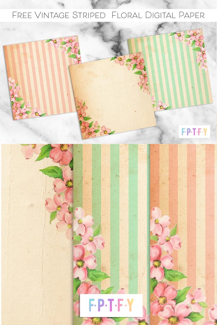 Free Vintage Striped Floral Digital Paper