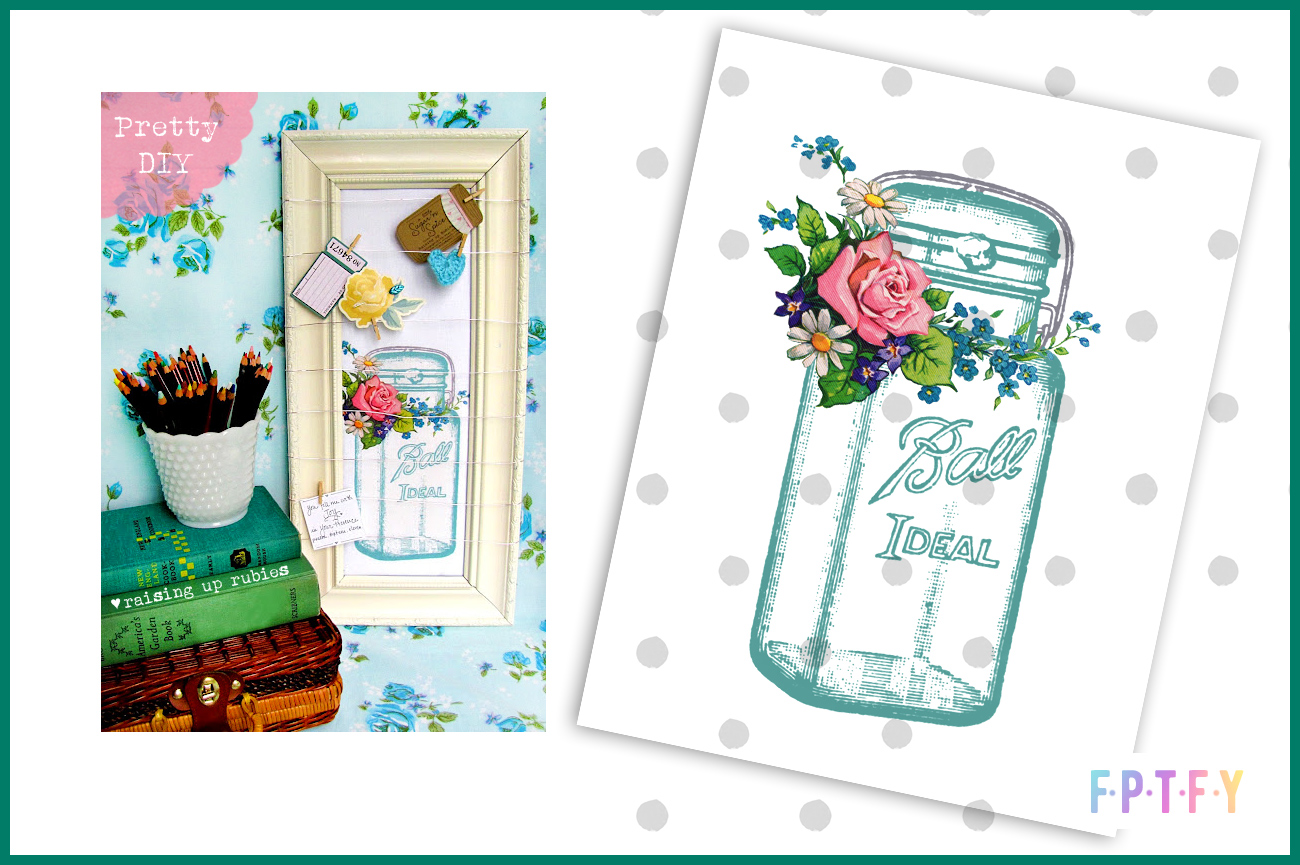 Free Mason Jar Vintage Floral Image