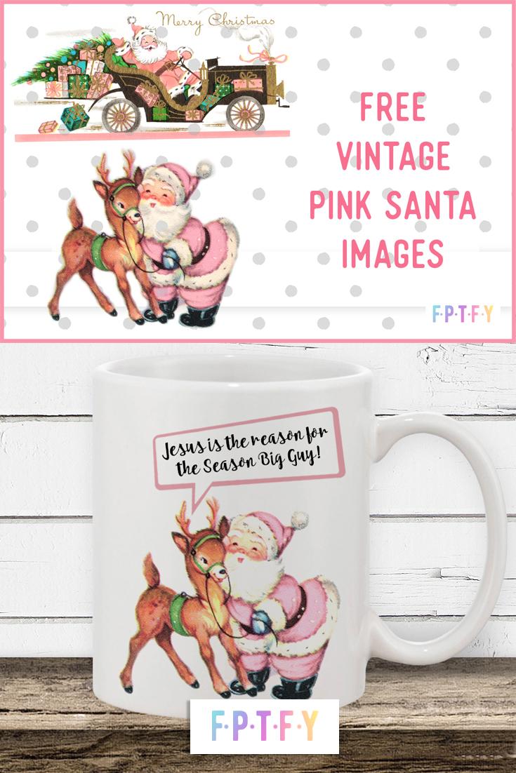 pink vintage santa images