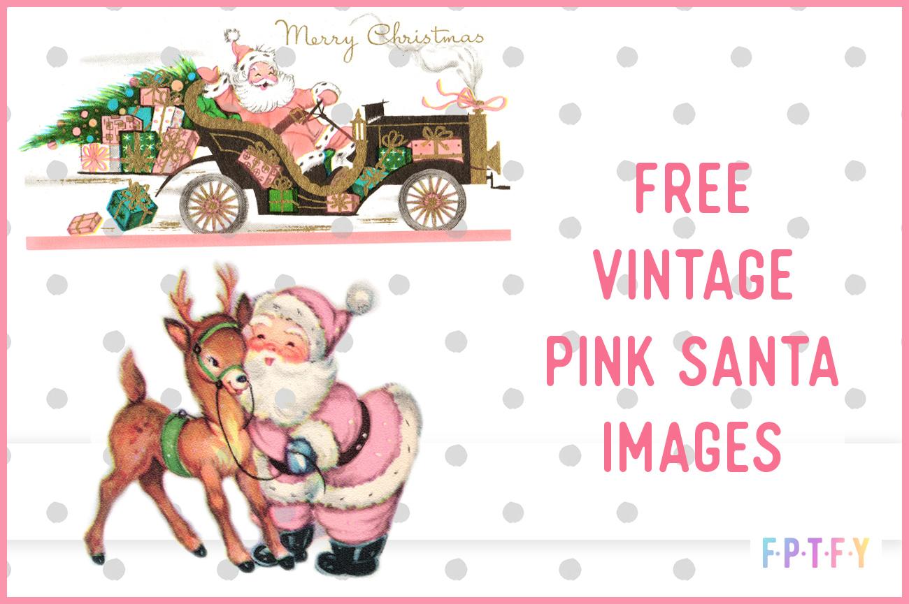 Free pink vintage santa