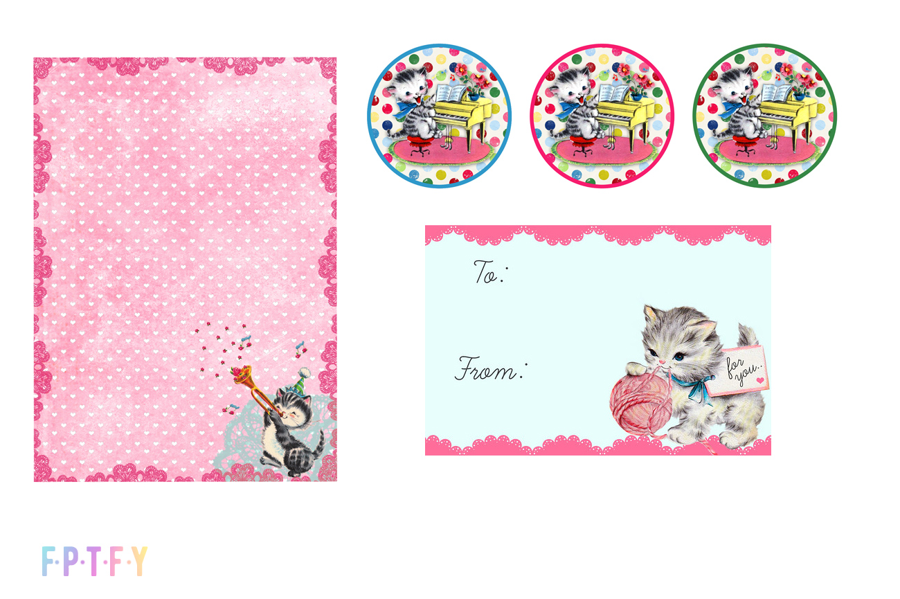 Free VIntage Kitty Cat Tags and printables