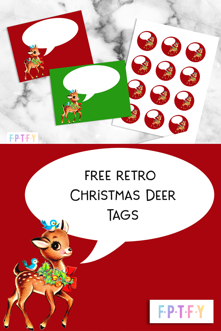 Christmas Vintage Retro Reindeer Tags