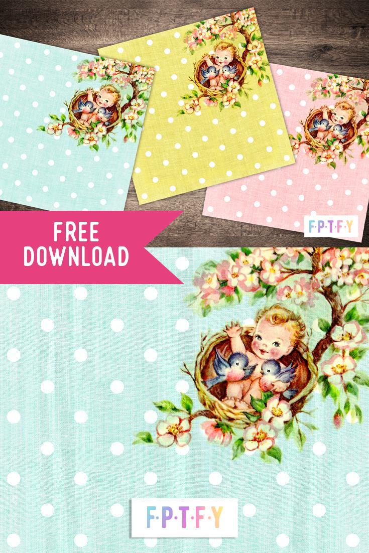 Free Digital Scrapbooking Paper Vintage Baby on The Tree Top