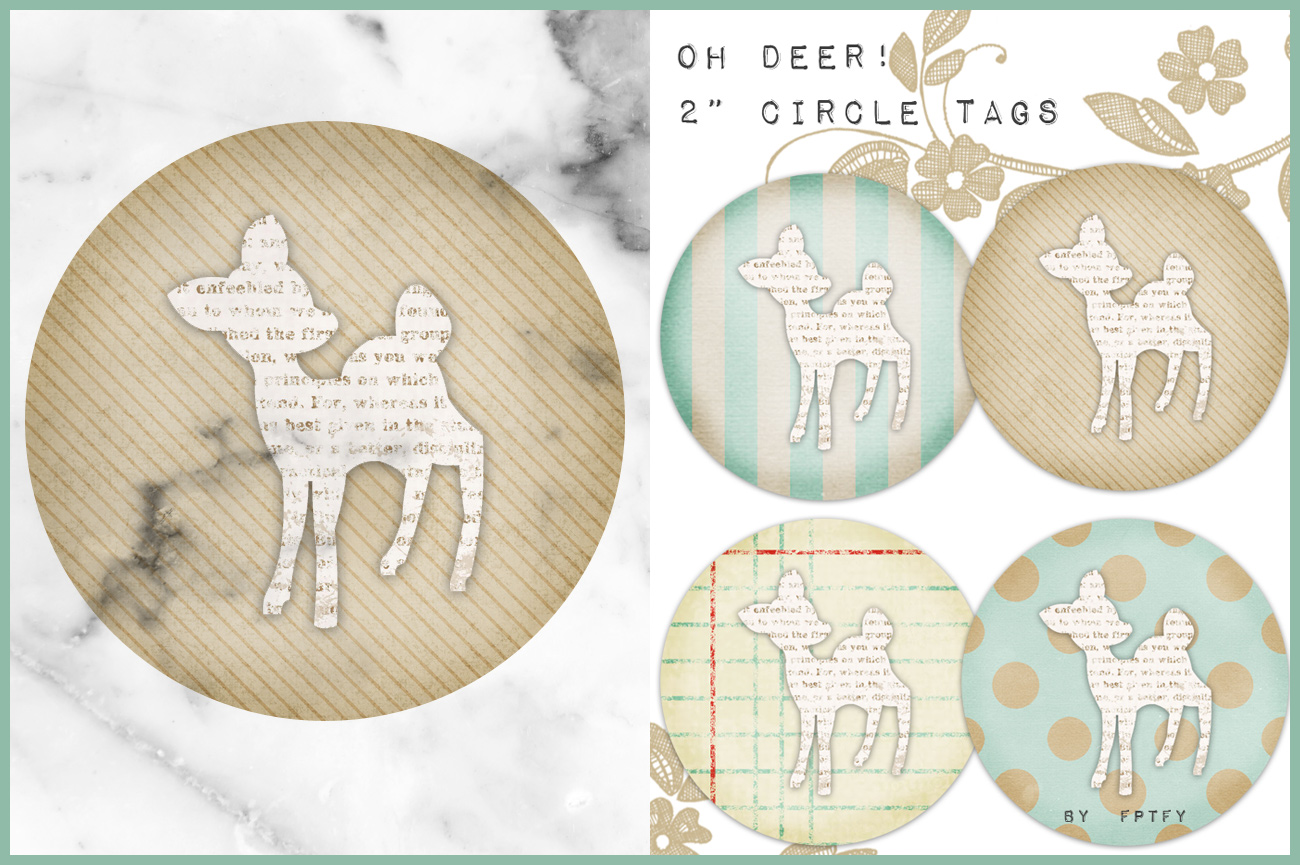 Free Vintage Oh Deer 2 in Circle Tags