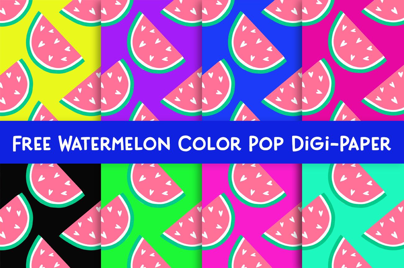 watermelon digital paper for free