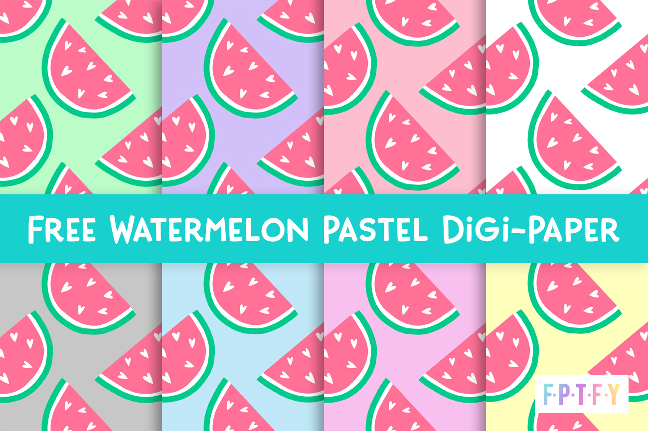 Free Watermelon Pastel Digital Paper